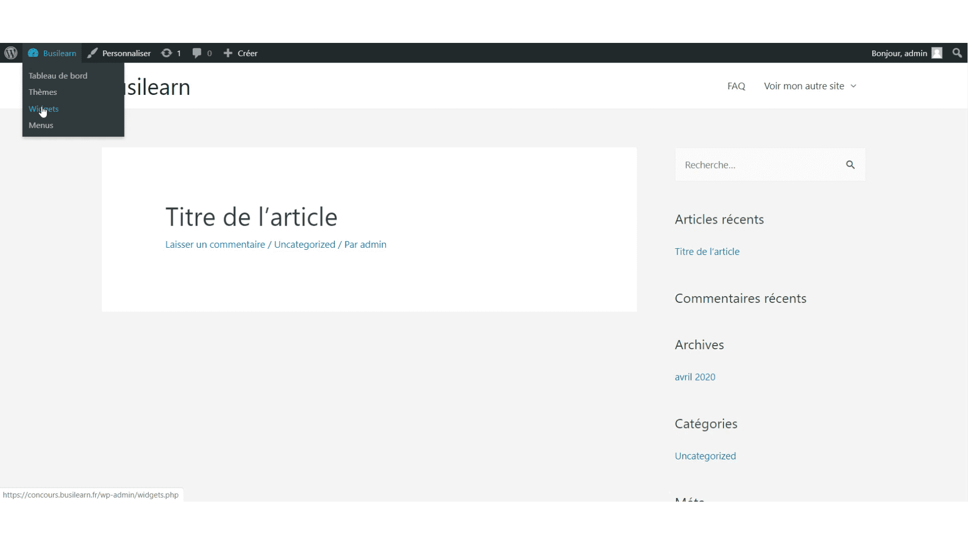 widget barre latérale WordPress