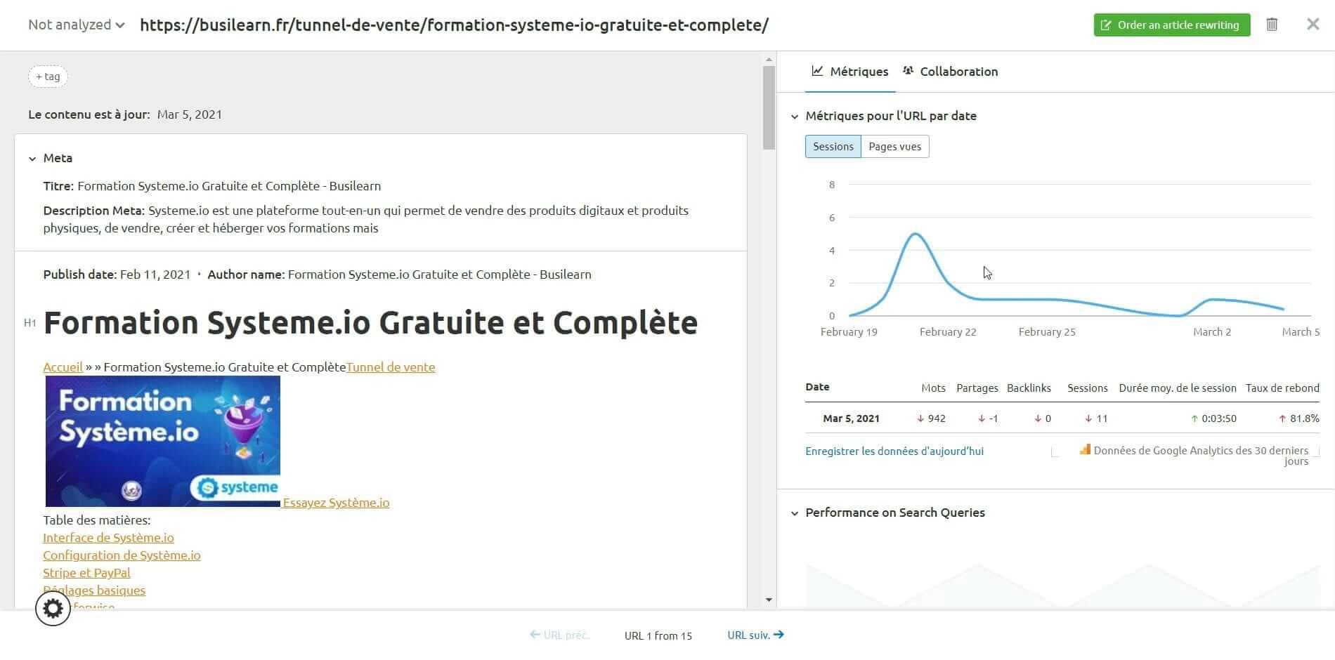 Analyse du contenu du site