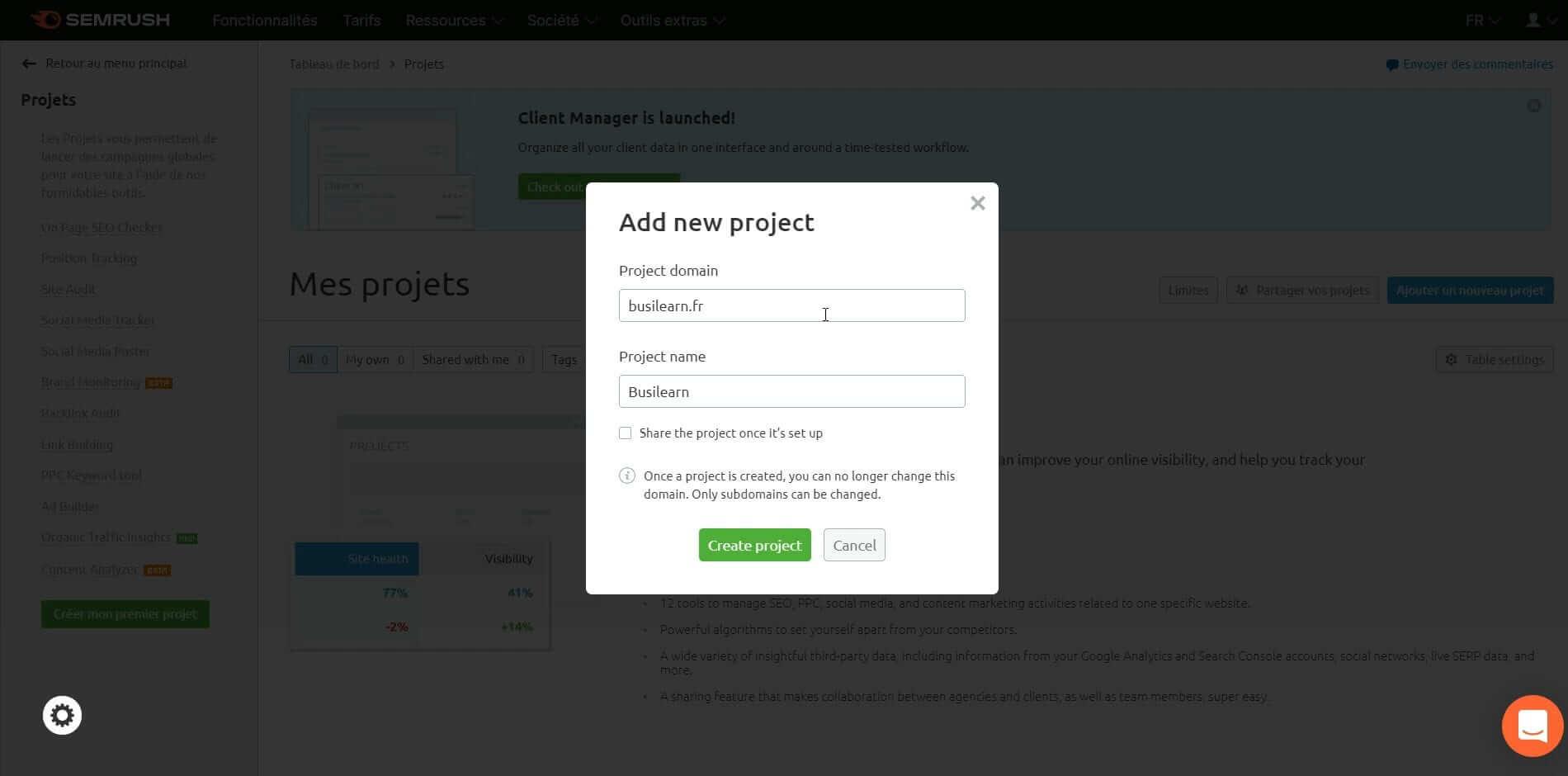 Ajouter un projet dans votre tableau de bord Semrush