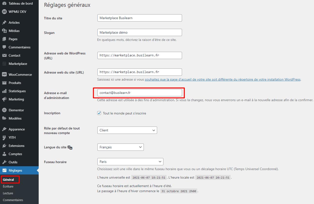 Réglage email général Marketplace